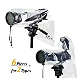 2 Types JJC DSLR Camera Rain Cover Coat Rian Sleeve Protector for Canon Nikon Fujifilm Sony Olympus Panasonic Tamron Sigma with a lens & Flash PE Material Totally See-through -6 Pack