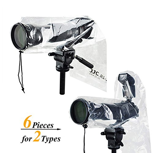 2 Types JJC DSLR Camera Rain Cover Coat Rian Sleeve Protector for Canon Nikon Fujifilm Sony Olympus Panasonic Tamron Sigma with a lens & Flash PE Material Totally See-through -6 Pack by JJC