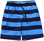 YOOJIA Kids Toddlers Boys Swim Trunks Quick Dry Swim Shorts Stripe Drawstring Summer Beach Board Shorts