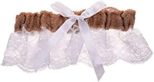 BLUECELL Burlap and White Lace Bowknot Bridal Wedding Garter