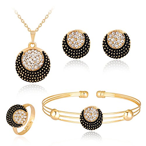 Gbell Clearance! Lady Women Fine Jewelry Set Statement - Personality Rhinestone Necklace Pendant Bracelet Ring Earrings Jewelry Set Charm for Women's Girls Anniversary Wedding Party Date Casual (M) ()