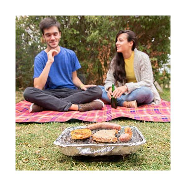 Relaxdays, Argento Griglia Monouso, Instant Barbecue, 2 Piedini, 500 g di Carbonella Inclusi, BBQ con Accensione… 3 spesavip