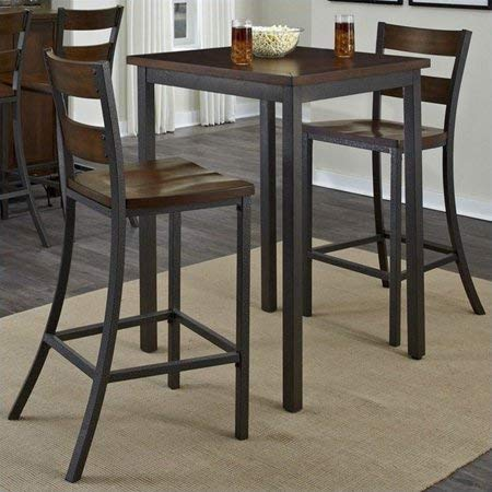 Beautiful 3-Piece Dining Set, 1 Bistro Table, 2 Barstools, Sturdy Mahogany Solids, Veneers and Metal Construction, Distressed by Hand, Hammered Metal-Look Finished Frame, Multi-Step Chestnut ()