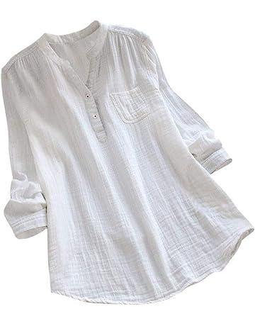 290456b353870 Yvelands Damen Tops Stehkragen Long Sleeve beiläufige lose Tunika Tops T  Shirt Bluse