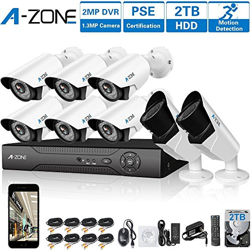 A-ZONE 8 CH 1080P DVR AHD Home Security Camera System W/ 6x