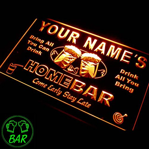 p-tm-o Name Personalized Custom Home Bar Beer Neon Light Sign Orange