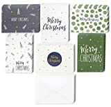 48 Pack of Christmas Winter Holiday Family Greeting Cards Green and Cream Merry Christmas Festive Designs Boxed with 48 Count White Envelopes Included 4.5 x 6.25 Inches