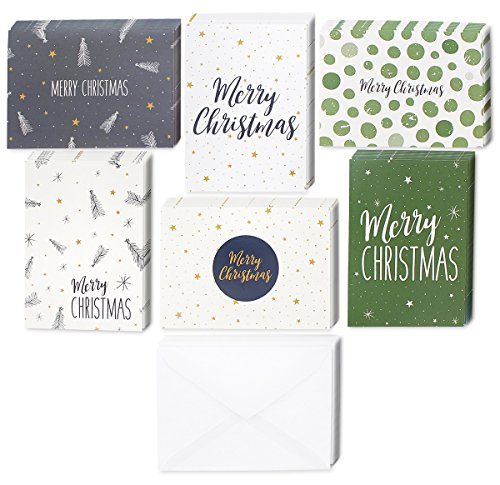 Christmas Cards Stationery (48 Pack of Christmas Winter Holiday Family Greeting Cards Green and Cream Merry Christmas Festive Designs Boxed with 48 Count White Envelopes Included 4.5 x 6.25 Inches)