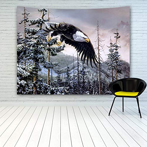 (MINAKO Eagle Tapestry Wall Hanging,American Bald Eagle Flying Over Winter Snow Mountain Forests Trees Tapestries for Bedroom Living Room College Dorm Decoration Home Decor 60