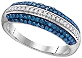 10kt White Gold Womens Round Blue Colored Diamond Striped Band Ring 1/2 Cttw (I2-I3 clarity; Blue color)