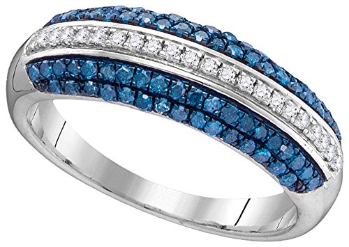 10kt White Gold Womens Round Blue Colored Diamond Striped Band Ring 1/2 Cttw (I2-I3 clarity; Blue color) by Jewels By Lux