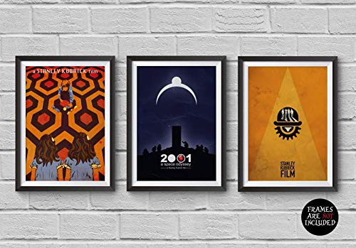 Stanley Kubrick Minimalist Poster Set of 3 Films The Shining A Clockwork Orange 2001: A Space Odyssey Print Collectibles Cult Movies Wall Artwork Home Decor Hanging Cool Gift]()