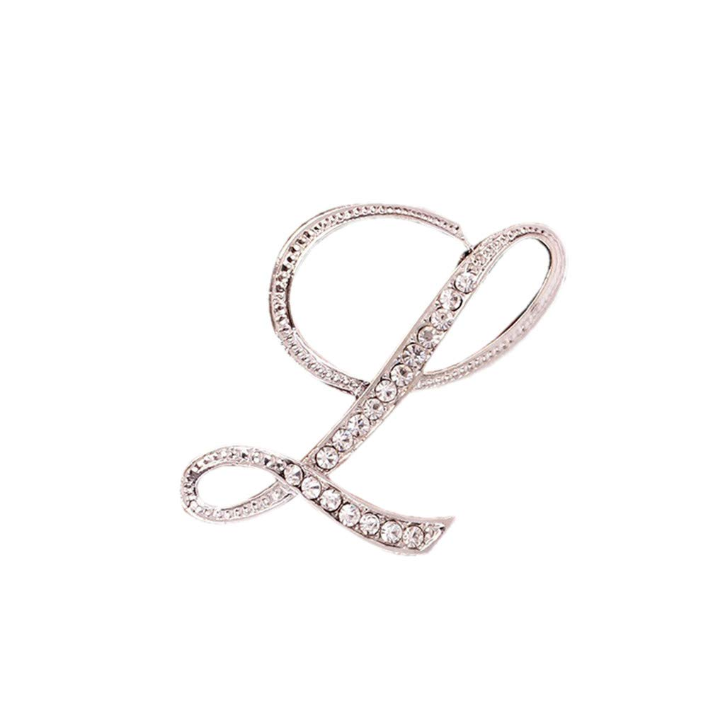 Usstore  English Letters Diamond Brooch Pin Crystal Couple Memorial Jewelry Love Gifts Birthday Present Clothes Decor (L, one Size)