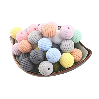 JINGYANHUA 20Pcs Silicone Beads Baby Teething Round Spiral Beads Food Grade Beads 15Mm DIY Threaded BPA Free Beads Baby Teethers,Light Gray: Home & Kitchen