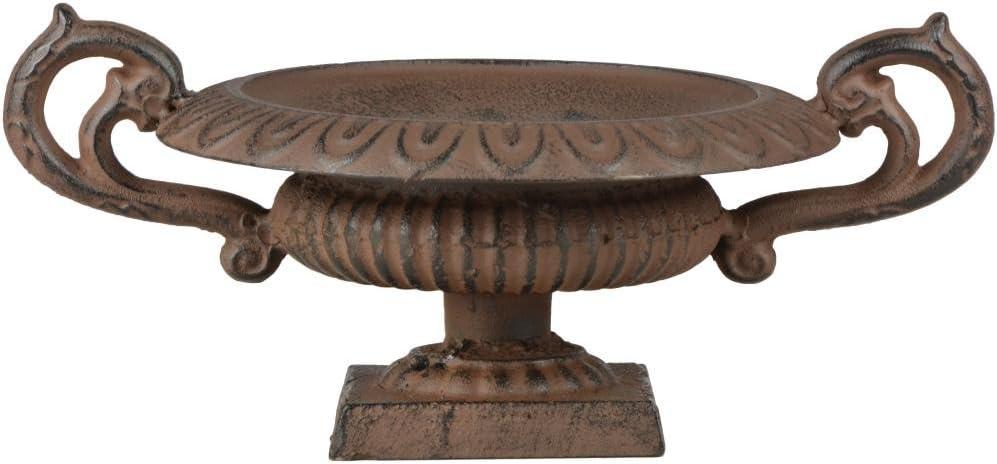 Gr/ö/ße S aus Gusseisen Esschert Design Franz/ösische Vase mit Griffen Stabiler Stand Gartendekor Pflanzenvase niedrig Blumenvase 29 x 20 x 13 cm