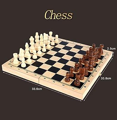 "Chess Set 13""x13"" Folding Wooden Standard Travel International Chess Game Board Set/Travel Chess Set / with Algebraic Notation"