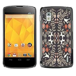 Be Good Phone Accessory // Dura Cáscara cubierta Protectora Caso Carcasa Funda de Protección para LG Google Nexus 4 E960 // Wallpaper Vintage Flowers White Doves