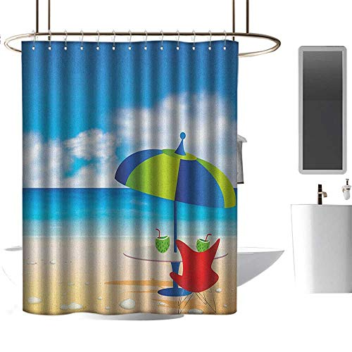 TimBeve Shower Curtain Liner Mildew Resistant Beach,Relaxing Scene with Umbrella and Drinks Open Skyline Holiday Destination Summer Time, Multicolor,100% Polyester Fabric Bathroom Drapes -