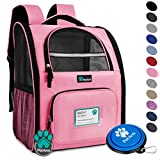 PetAmi Deluxe Pet Carrier Backpack for Small Cats and Dogs, Puppies   Ventilated Design, Two-Sided Entry, Safety Features and Cushion Back Support   For Travel, Hiking, Outdoor Use (Pink)