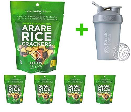 - Lotus Foods, Arare Rice Crackers, Sweet & Savory Thai, 5 oz (142g) (5 PACKS) + Blender Bottle 20 oz (Assorted Bottle)