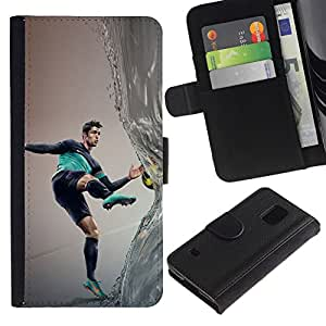 All Phone Most Case / Oferta Especial Cáscara Funda de cuero Monedero Cubierta de proteccion Caso / Wallet Case for Samsung Galaxy S5 V SM-G900 // Ronaldo Soccer