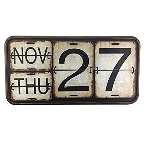 Archi 16.5'' Home Metal Wall Calendar Shabby Chic Perpetual Flip Calendar for Office Bar Decoration Square Shape Distressed Finish Wall Hanging-Reproduction Antique Railroad (012, (Cool Calenders 2015)