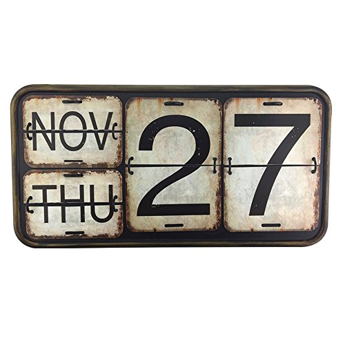 Archi 16.5'' Home Metal Wall Calendar Shabby Chic Perpetual Flip Calendar for Office Bar Decoration Square Shape Distressed Finish Wall Hanging-Reproduction Antique Railroad (012, Black) (Perpetual Wall Calendar)