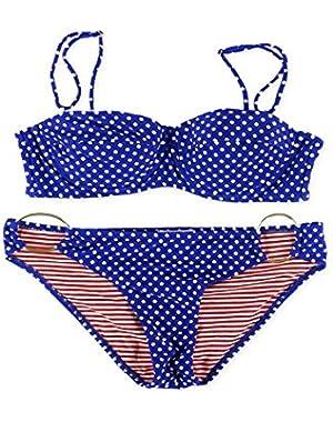 Jessica Simpson Womens Polka Dot Ring Side 2 Piece Bikini