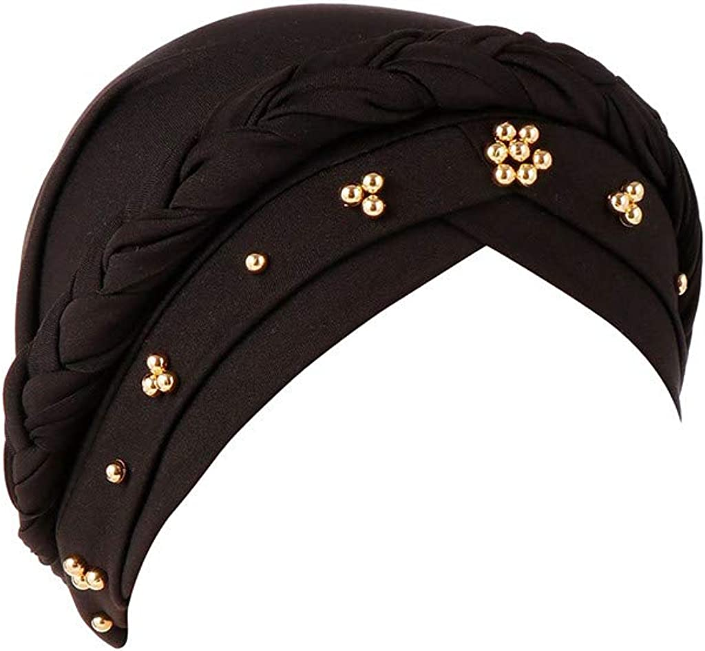 Turbans for Women Beads,Head Wraps 2019 Winter Fashion Cancer Cap Gift Christmas Simple Black New Outdoor Fit