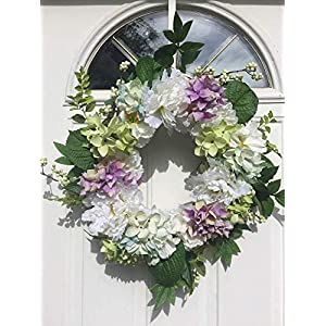 Wreaths For Door Pure Elegance Spring Door Wreath 20 Inch Peony Hydrangea Front Door Wreath Everyday Year Round Indoor Outdoor Pale Purple Cream Green Easter Mothers Day 12