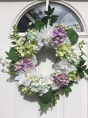 Wreaths For Door Pure Elegance Spring Summer Door Wreath 20 Inch Peony Hydrangea for Front Door Weddings Anniversary Everyday Year Round Indoor Outdoor Pale Purple Cream Green