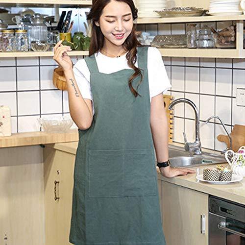 Gotian Apron Women's Cotton Linen Cross Back Japanese Housework Kitchen Wrap Pinafore (Green) -