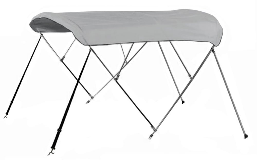 New Bimini Top Boat Cover 4 Bow 54'' H 73'' - 78'' W 8 ft. Long Gray