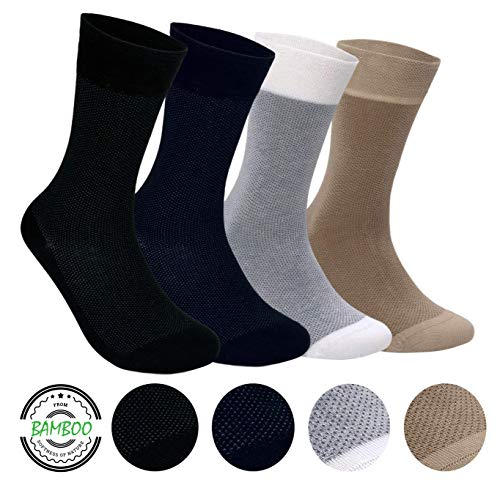 - Men's Bamboo 4 Pair Socks - Soft Touch, Scented, Seamless, Antibacterial Organic Bamboo Fiber (Assorted-5)