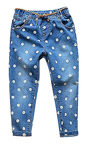 Sweety, Girls' Stylish Washed White Dot Print Pull On Leather Cord Regular Jeans, Blue 3T