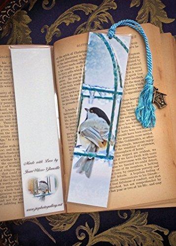 Gallery Feeder - Chilly Chickadee Wild Bird at Feeder Bookmark w/ Birdhouse Charm Fine Art Photography Photo Laminated Handmade Bookmark