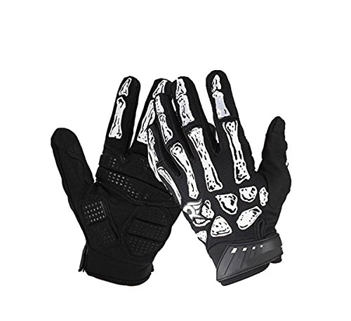 YIXIA Skeleton Gloves Cycling Full Finger Skull Bone Gloves Anti-Slip Touch Screen Bicycle Riding Gloves for Women and Men Motorcycle gloves (Black, M) ()
