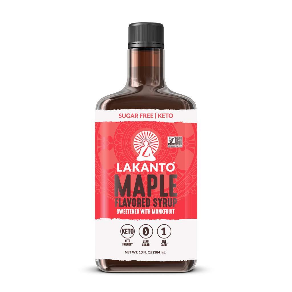Lakanto Sugar Free Maple Syrup - Monkfruit Sweetener, Keto Diet Friendly, Vegan, 1g Net Carbs, Pancakes, Waffles, Oatmeal, Coffee, Tea, Granola, Frosting, Marinade, Dressing (13 Fl Oz - Pack of 1)