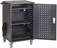 ECR4Kids 30-Bay Locking Laptop and Tablet Charging Station Cart with Keypad Entry, Computer Charging Station C
