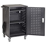 ECR4Kids 30-Bay Locking Laptop and Tablet Charging Station Cart with Keypad Entry, Computer Charging Station Cabinet, Secure Storage, Portable, Assembly Required, Black