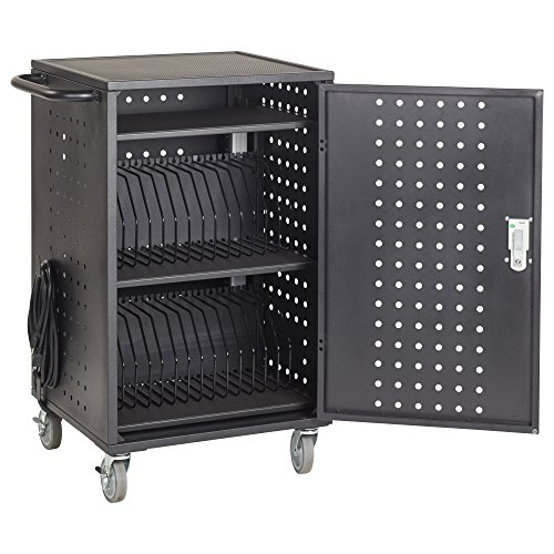 (ECR4Kids 30-Bay Locking Laptop and Tablet Charging Station Cart with Keypad Entry, Computer Charging Station Cabinet, Secure Storage, Portable, Assembly Required, Black)