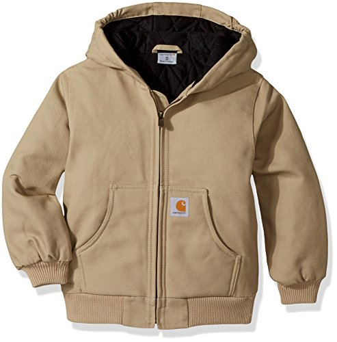Carhartt Little Boys' Active Jacket Flannel Quilt Lined, Dark Tan, X-Large (18/20)