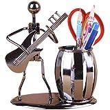 INVESCH Metal Art Crafts Pencil Pen Holder for Desk Organizer Pen Stand Decorative Guitar Theme Desktop Supply Organizer