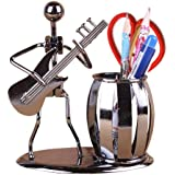 INVESCH Metal Art Crafts Pencil Pen Holder for Desk Organizer Pen Stand Decorative Guitar Theme Desktop Supply Organizer