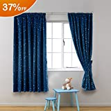 H.Versailtex Printed Blackout Pencil Pleat Pair Light Reducing Microfiber Curtains, Thermal Insulated & Warm Protecting, Navy Blue with Silver Stars for Kid's Room, 46'' Width x 72'' Drop