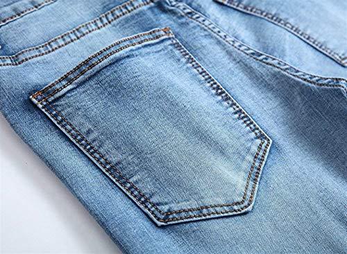 Da Pants Biker Skinny Pantaloni Fashion Ragazzi Uomo Denim Jeans Moto Strappati Casual Destroy Hellblau Retro Huixin xnYEFzB