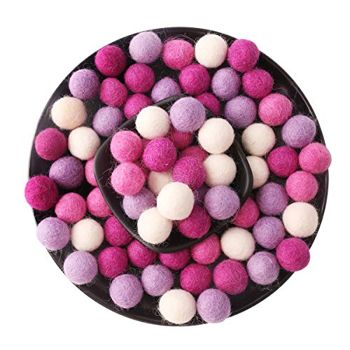 (baby love home 80pcs 2cm Felt Ball Wool Beads Purple Series Christmas 80pcs Pure Wool Gumball Felt Pom Poms Gift)