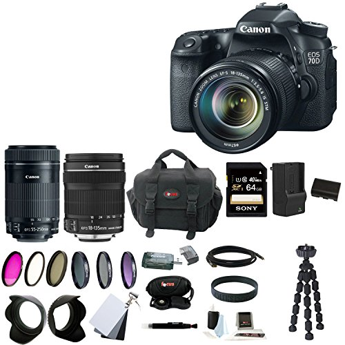 Canon EOS 70D 18-135mm + 55-250mm Lens + 64GB SDXC Memory Card + Tiffen Photo Essentials Filter Set + Replacement Battery + AC/DC Rapid Mini Battery Charger for Canon + Accessory Kit from Focus Camera