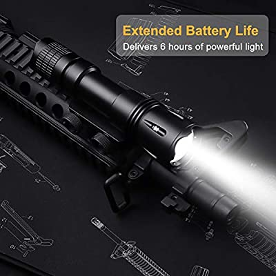 Feyachi WL15 1200 Lumen Professional Tactical Rail Mount Weapon Flashlight with Rechargeable 18650 Batteries and Remote Pressure Switch