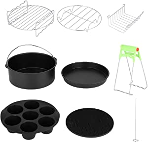 Taidda Air Fryer Accessories Kit, 8in Stainless Steel Air Fryer Basket Baking Pan wiht Silicone Pot Barrel Pan Mat Tray Clip Grill Bread Rack Dish